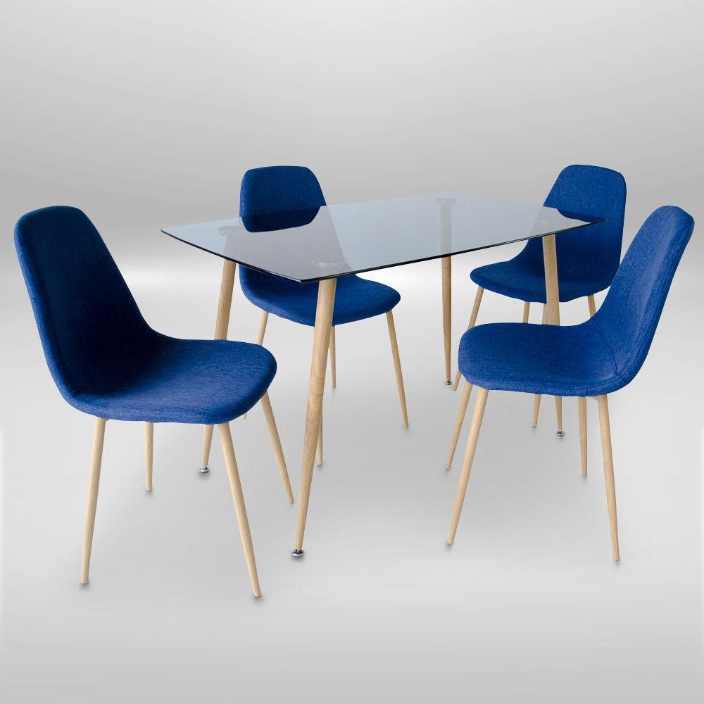 Mesa de comedor dt1178 muebles arteco for Sillas azules comedor